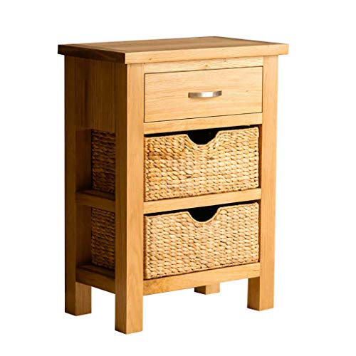 RoselandFurniture London Oak Telephone Table With Baskets & Drawer | Solid Wooden Country Style Oak Hall Stand, Hallway Storage Cabinet for Entryway, Living Room or Bedroom, Fully Assembled
