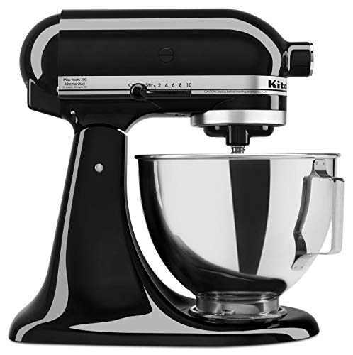 KitchenAid KSM85PBOB 300 Watt 4.5-QT Tilt Head Stand Mixer, Onyx Black