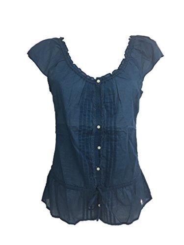 Abercrombie & Fitch Damen Bluse Spitze, Blau X-Small
