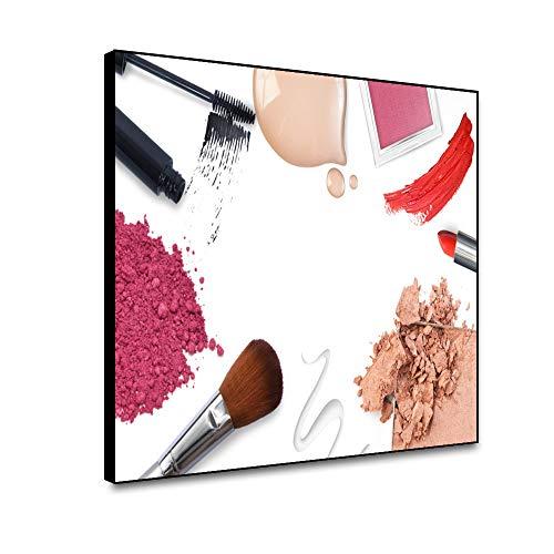 Miueapera 10x8 inch Cosmetica kunst ingelijst Canvas Schilderen Lippenstift Mascara Oog Schaduw Wandbeeld Prints Modern Home Decor Voor Woonkamer Slaapkamer Hallway Poster Gift Voor Familie Vriend