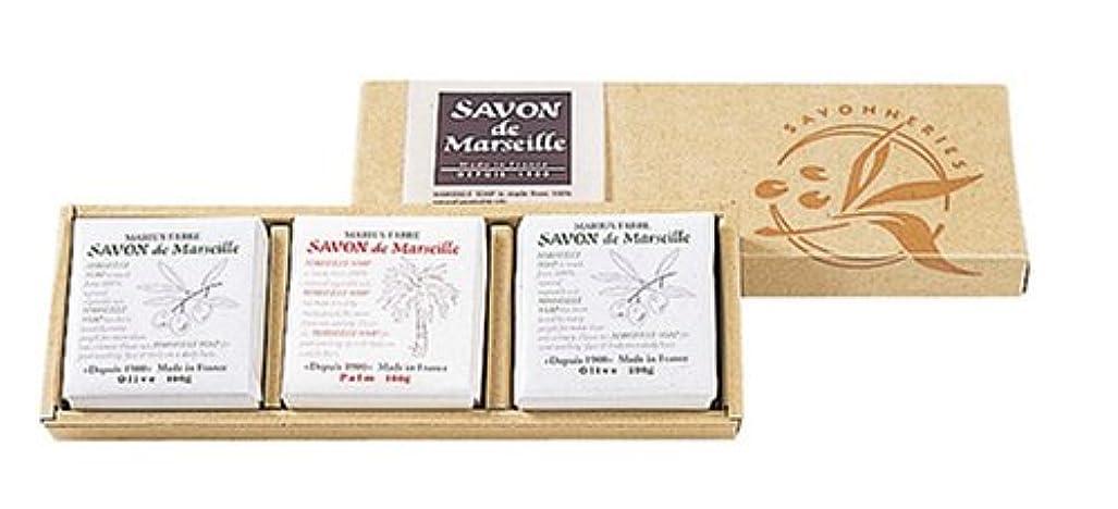 証書協力芸術的サボンドマルセイユ無香料ギフトセット3個入り