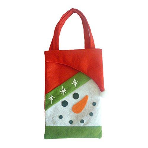 Tinksky Sac à Bonbons de Noël Portable Sac à Cadeaux Enfant avec Poignée Motif de Flacon de Neige pour Fête de Noël