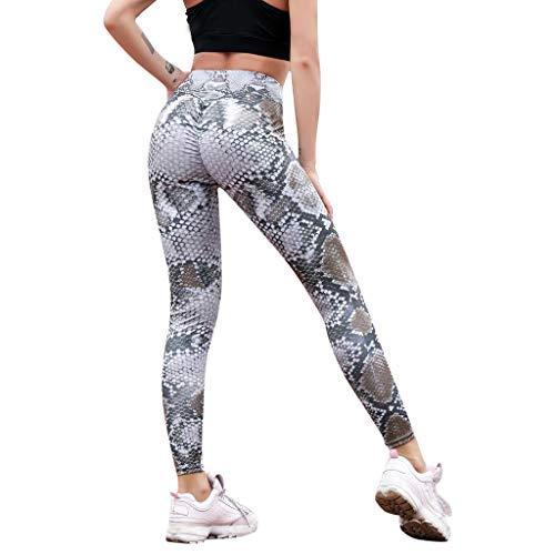 MOTOCO Frauen-Leggings mit Schlangenmuster und hohem Bund und Engen Taillenhosen Größe 38-46(M,Braun)
