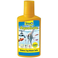 CONDITIONS aquarium WATER: Essential care formula protects fish and reduces stress. MAKES TAP WATER SAFE: Monthly treatment with partial water changes removes harmful chlorine. INSTANT RESULTS: Works quickly to make tap water safe for fish. ESSENTIAL...