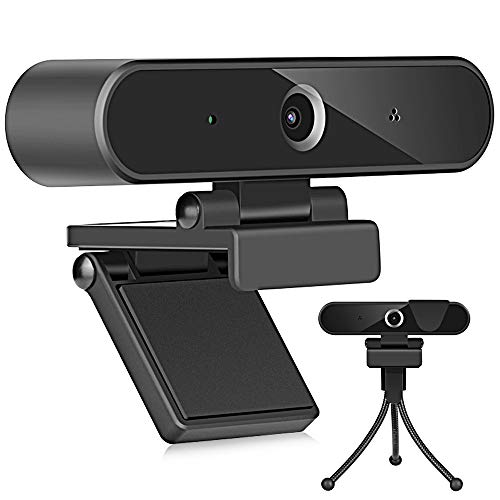1080P Webcam with Microphones for Desktop/Laptop, Full HD Streaming Computer Camera, 110-Degree Wide Angle, Plug and Play USB Webcam for YouTube, Skype, FaceTime, Video Conferencing, Studying, Games