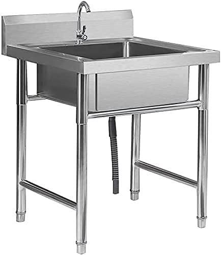 Fregaderos comerciales, Paquete de fregadero comercial de acero inoxidable portátil fácil de limpiar con grifo, cocina montada en el suelo Doble fregaderos para hotel / restaurante / catering