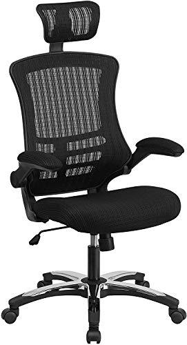 Bürodrehstuhl, hohe Rückenlehne, schwarzer Netzstoff, ergonomisch, Chefsessel mit hochklappbaren Armlehnen und verstellbarer Kopfstütze