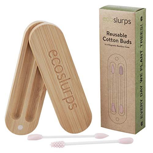 EcoSlurps Rosado Bastoncillos Oídos en una caja de bambú | Bastoncillos Ecológicos Q-Tip - Bastoncillo de Silicona Limpiador Oídos | bastoncillos de algodón | premiado (2, rosa)