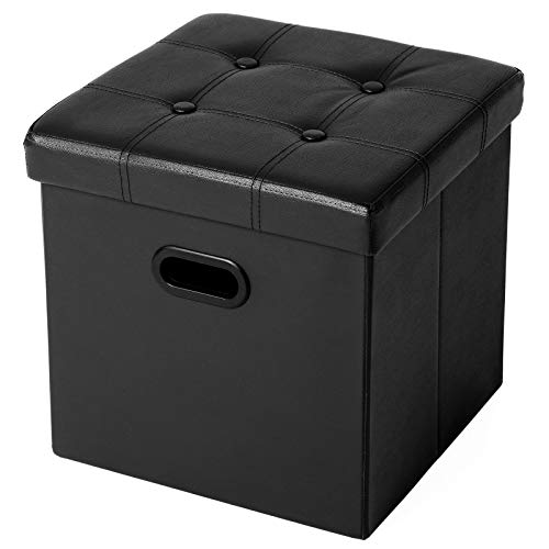 SONGMICS Folding Storage Ottoman, Cube Footrest, Puppy Step, Coffee Table with Hole Handles, 15 x 15 x 15 Inches, Max. Static Load 660 lb, Faux Leather, Black