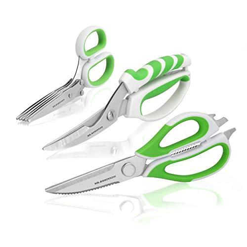 MR. ROBINSON Scheren Set - Allzweckschere Küchenschere mit vielen Funktionen - Kräuterschere mit 5fach Klinge - Geflügelschere mit Knochenbrecher - Hochwertiges Scherenset auch für Linkshänder