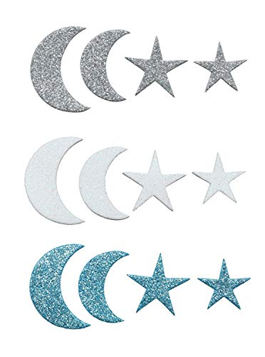 Glorex 6 2247 713 - Moosgummi Sticker Mond und Sterne, selbstklebend, 60 Stück, sortiert in verschiedenen Motiven, ideal zum Verzieren und Dekorieren von Grußkarten, für Scrapbooking, usw.