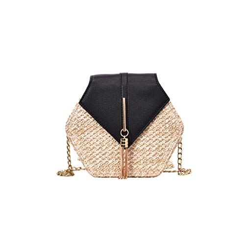 Why Choose Ikevan_ Simple Fashion Retro Weave Leather Tassel Chain Bag Crossbody Shoulder Bag Backpa...