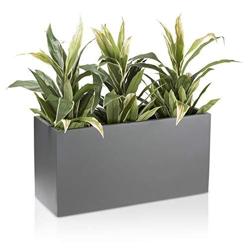 Maceta jardinera VISIO fibra de vidrio macetero - color: gris mate - maceta grande resistente a las inclemencias y al frío invernal para interior y exterior, jardinera robusta