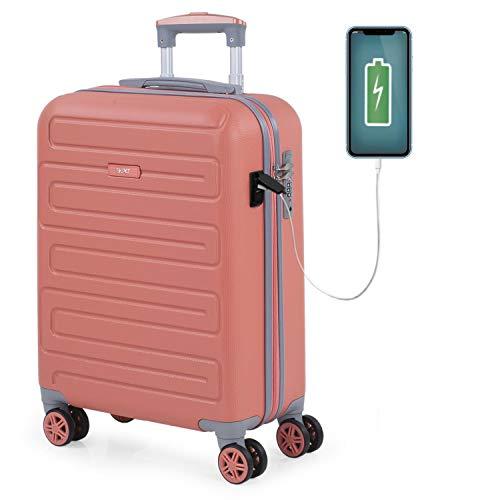 SKPAT - Maleta Cabina Avion Pequeña con Ruedas Rígida [Extensible] Hombre Mujer.[ Conexión para Carga USB]. 4 Ruedas Trolley. Equipaje de Mano. Candado TSA 175050, Color Coral