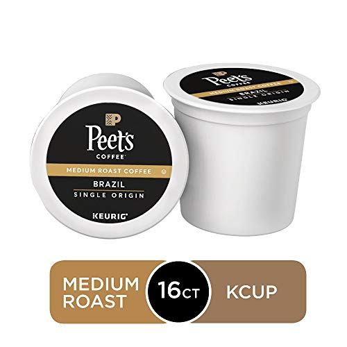 Peet's Coffee Single Origin Brazil, Medium Roast, 16 Count Single Serve K-Cup Coffee Pods for Keurig Coffee Maker