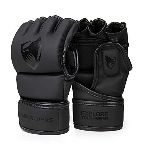 Liberlupus MMA Gloves for Men & Women, Kickboxing Gloves with Open Palms, Boxing Gloves for Punching Bag, Sparring, Muay Thai, MMA
