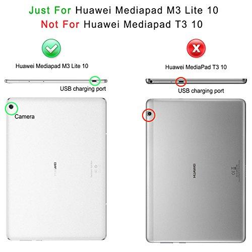 Infiland Huawei MediaPad M3 Lite 10 Tastatur Hülle, Ultradünn leicht Ständer Schutzhülle mit magnetisch abnehmbar Tastatur für Huawei MediaPad M3 Lite 10(QWERTZ Tastatur,Dunkleblau) - 2