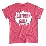 Happy Family Clothing Superhero Birthday Girl Comic Book Hero Party T-Shirt (S (6/8), Pink Heather)