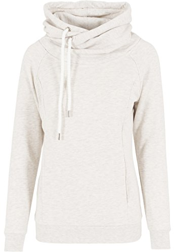 Urban Classics Damen Pullover Pullover Raglan High Neck Hoody mehrfarbig (Offwhite Melange) Large