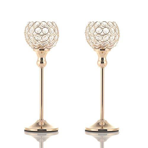VINCIGANT Kerzenhalter Gold Kristall, Party Deko Gold, Set 2 für Weihnachtsdekoration deko Hochzeit Dekoration,33cm&33cm Höhe