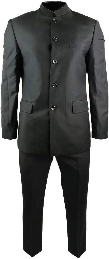 HOTK Men's Suits Black Grandad Chinese Collar Beatle Style Work Wedding Party Tuxedos