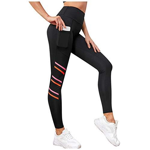 URIBAKY - Mallas para mujer, diseño de rayas, delgadas y largas, para invierno, para yoga Negro XL
