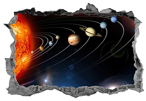 3D Wall Sticker, Removable Wall Mural Decals, Wall Art Decor for Livingroom Bedroom Nursery, Solar System, Kids, Planets, Space Galaxy - 32' at the Longest End