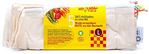Ecodis – 5 sacchetti riutilizzabili per frutta e verdura, in cotone bio