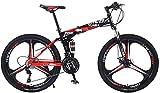 Qianglin Bicicleta Plegable para Adultos, Bicicleta de montaña Plegable de 24/26 Pulgadas para Hombres y Mujeres, 21-30 velocidades, Freno de Disco, Horquilla de suspensión bloqueable, Negro