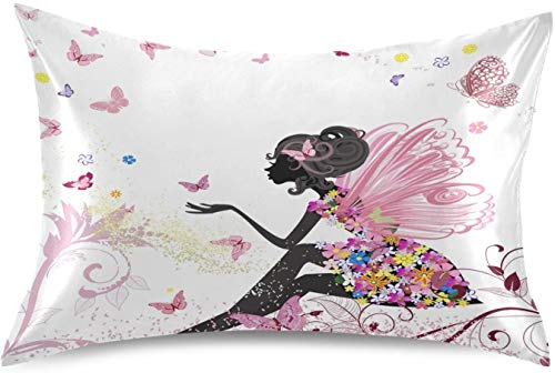 Fairy Flower Butterfly Girl Satin Pillowcase for Hair and Skin Silk Pillowcase - Slip Cooling Satin Pillow Covers with Envelope Closure, Standard Size(20x26 inches)