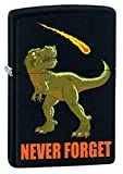Never Forget Dinosaur Asteroid Extinction Black Matte Custom Zippo Lighter