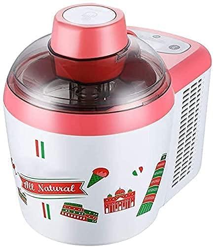 HTDHS Home Ice Cream Maker Maskinmjuk/hård glassmaskin elektrisk glassmaskin med inbyggd frys, gelato milkshake frozen yoghurtmaker 600 ml, rosa (färg: Rosa)