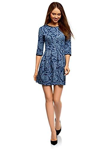 oodji Ultra Damen Kleid mit Faltenrock, Blau, DE 34 / EU 36 / XS
