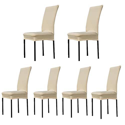 Dofilachy Stuhlhussen 6er Set Stuhlbezug Stretch aus Polyester Elastizität und Bügelfrei Abnehmbare Stuhlbezug für Festen Hochzeiten und Feiern Geburtstag Dekoration Stuhl (6 Stück, Champagner)