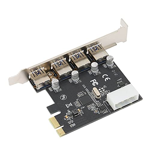 Tarjeta Adaptadora PCIE a USB, Lector Convertidor de Disco Duro de 4 Puertos para Placa Base PCIE X1 X2 X4 X8 X16 para Windows10 / 8/7 (32/64 bit) / Vista (32/64 bit) / XP / 2003/2008 / Linux, Etc.