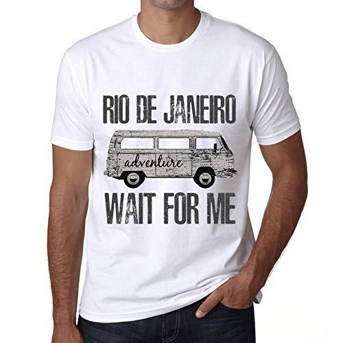 Hombre Camiseta Vintage T-Shirt Gráfico Rio DE Janeiro Wait For Me Blanco