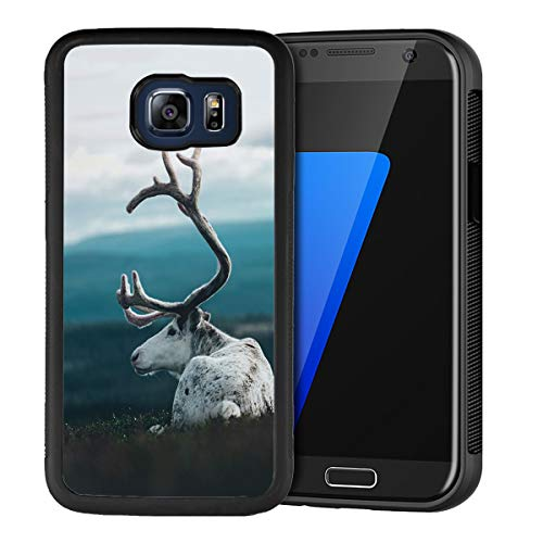 Case for Samsung Galaxy S6 Edge with Goat for Women and Man,Anti Slip Black TPU Bumper Shockproof Phone Case Suitable for Samsung Galaxy S6 Edge