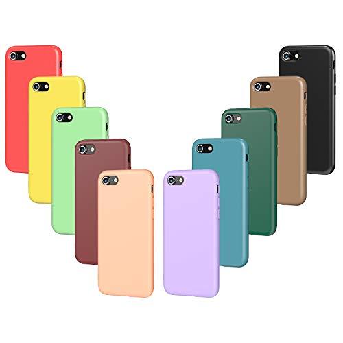 VGUARD 10x Custodia Cover per iPhone SE 2020 / iPhone SE 2 / 8 / 7, Sottile Silicone Morbido TPU Protettivo Case (Nero, Verde, Verde Chiaro, Blu, Arancione, Rosso Vino, Rosso, Giallo, Viola, Marrone)