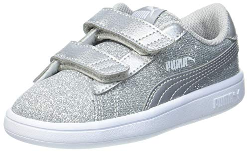 PUMA Smash v2 Glitz Glam V Inf, Sneaker Bimba 0-24, Grigio Silver Silver, 23 EU