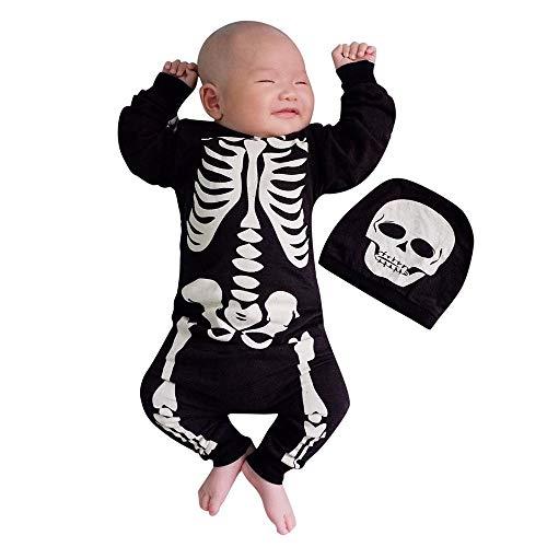 Ansenesna Halloween Kostüm Baby Jungen Mädchen Skelett Drucken Langarm Overall und Cap (70, Schwarz)