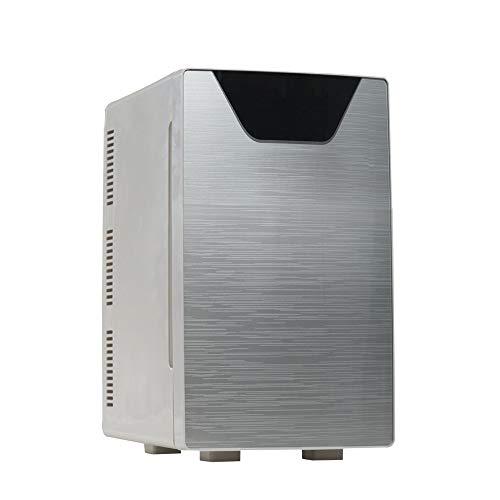 Draagbare mini-koelkast met dubbele deuren, voor persoonlijk gebruik, koelt en verwarmt 100% freonvrij en milieuvriendelijk. Bevat stekker voor het stopcontact en een 12-V-autolader NYGJMNBX Single core+Single door zilver
