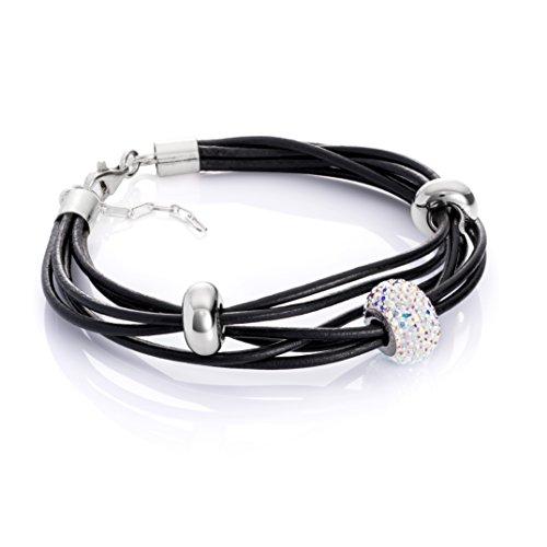 LillyMarie Damen Lederarmband Swarovski Elements Beads Silber Weiß Längen-verstellbar Satin-Beutel Geschenke
