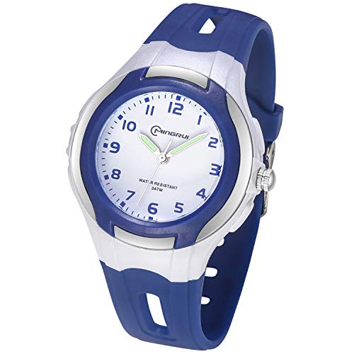 Relojes Analógicos para Niños, Niñas Impermeable Fácil de Leer Relojes de Pulsera con Correa Suave para Niñas