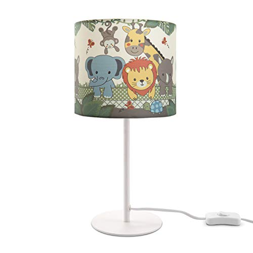 Kinderlampe LED Tischlampe Kinderzimmer Lampe Dschungel-Tiere, Tischleuchte E14, Lampenfuß:Weiß, Lampenschirm:Grün (Ø18 cm)