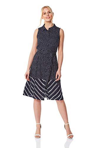 Roman Originals Vestido de camisa con estampado en contraste para mujer, verano, primavera, vacaciones, viajes, casual, ropa de trabajo, oficina, 1950, rayas y lunares