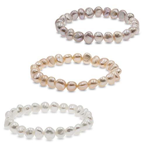 Secret & You Pulsera de Mujer de Perlas Cultivadas de Agua Dulce Blancas y de Colores de 8-9 mm Barrocas 22 Perlas en Total - Pulsera elástica de 18 cm.