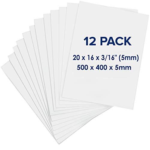 Schaumplatte 500 x 400 x 5mm - Premium 12 Stück - Weiße Leichtschaumplatte, Doppelseitige, Starre, leichte Schaumstoffplatte für Handwerk, Gestaltung, Kunst, Anzeige, Präsentation und Projekte