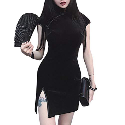 yssgtt Estilo chino tradicional de terciopelo de manga corta Mini Split Cheongsam Qipao vestido para mujer Negro 40