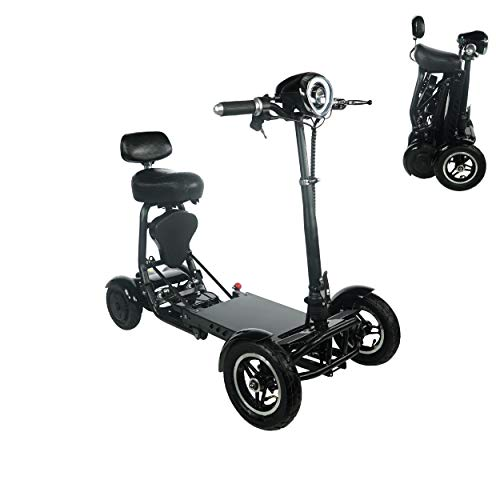 2020 Model Foldable Lightweight Li-on Battery Power Mobility Scooters Easy Travel Electric Wheelchair Multi Terrain Scooter for Adults with Child Seat (Black(Extra Range)) Mobility Scooters
