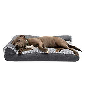 Furhaven Pet Dog Bed – Two-Tone Plush and Suede L Shaped Chaise Lounge Pillow Cushion Sofa-Style Living Room Corner Couch Pet Bed with Removable Cover for Dogs and Cats, Stone Gray, Large